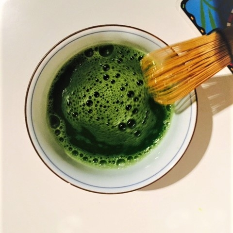 Traditionally Matcha is whisked in a bowl with hot water and a bamboo whisk.