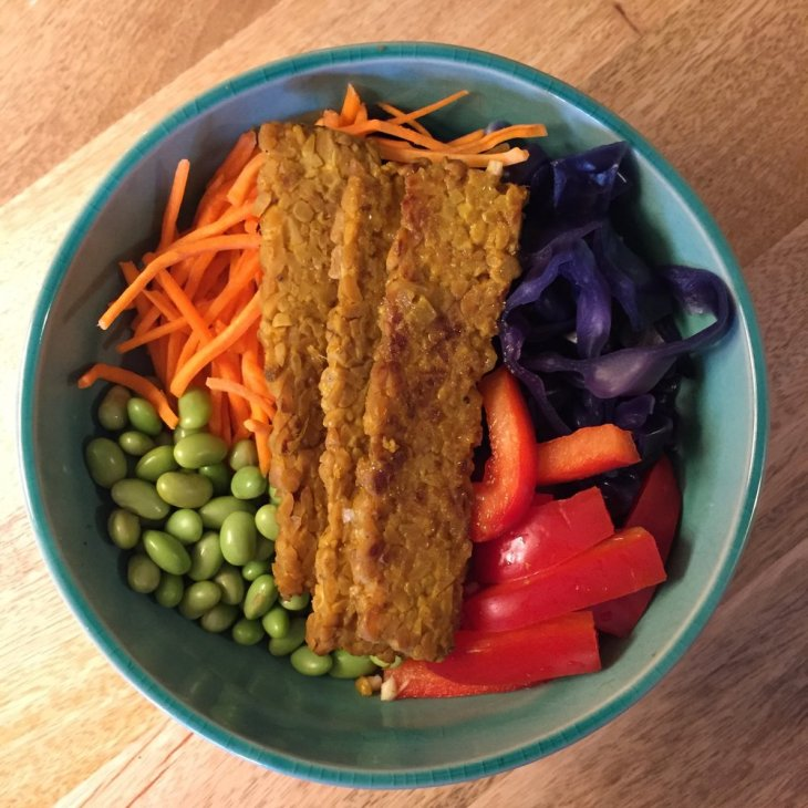Orange Maple Tempeh (see June blog for recipe) on brown rice with edamame, red peppers, purple cabbage and shredded carrots