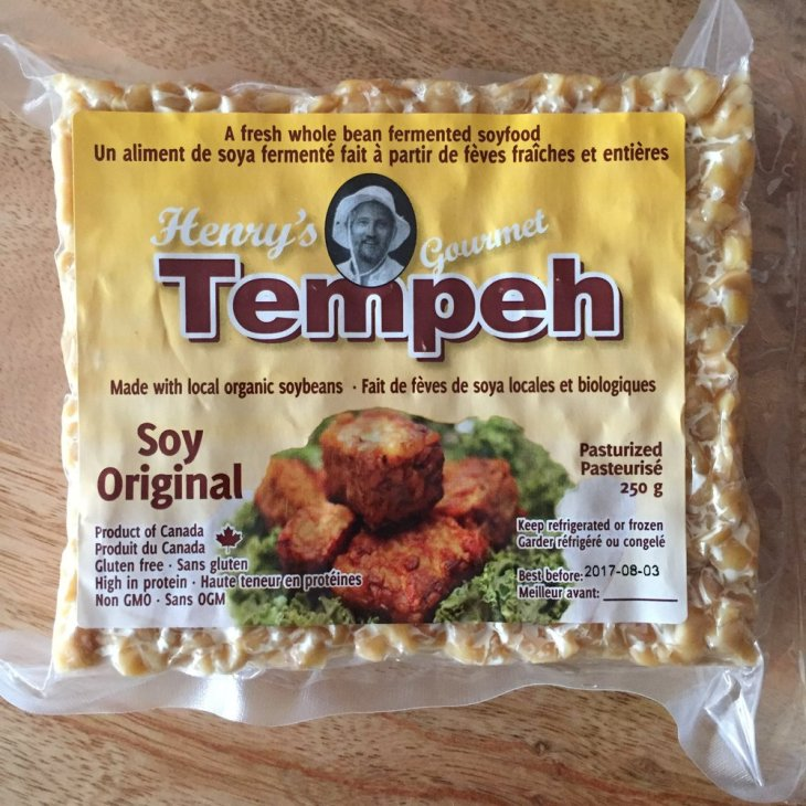 Henry's Tempeh made in Kitchener, Ontario. One of my favourite brands of raw tempeh.